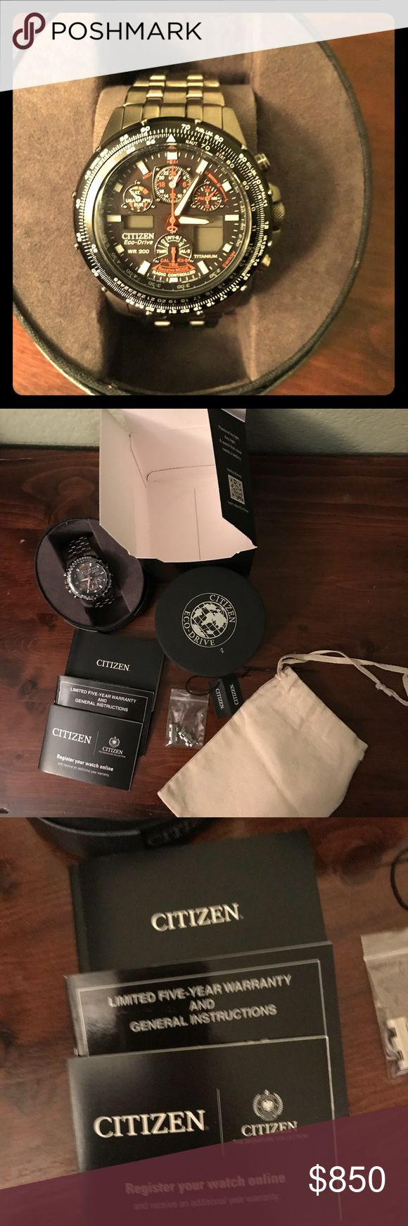 Men's citizen watch eco drive wr200 New with tags, box, booklets and extend pieces. Purchased from Jared a year ago. No low ballers please! Citizen Accessories Watches
