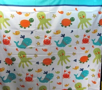 Underwater Creatures Fabric Shower Curtain Kids Novelty Fish Turtles Whales New Kid