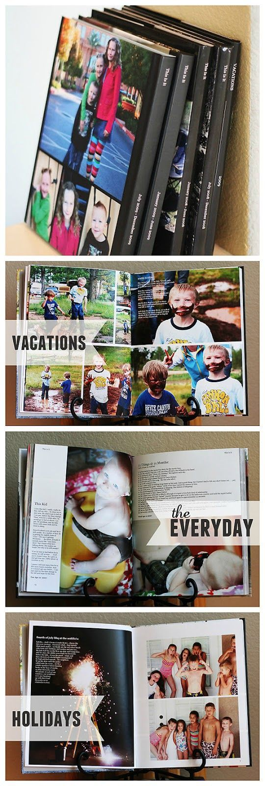 family yearbooks... So the family pics aren't just stuck on the computer. This is similar to what I do :)
