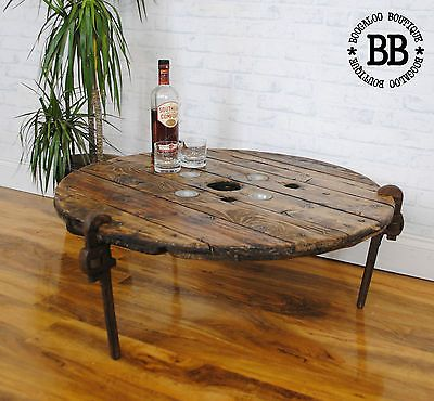 ★ WRENCH LEGS Upcycled Reclaimed Industrial Cable Reel Pallet Coffee Table