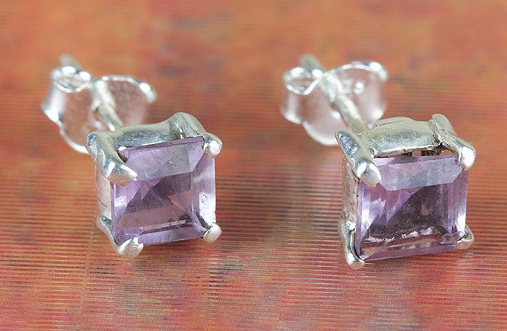 Amethyst Jewellery – Wow Faceted Amethyst Silver Stud BJS-128-AMC – a unique…