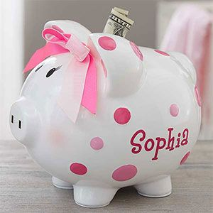 LOVE this cute Personalized Pink Piggy Bank and it's cute Polka Dot Design! You can personalize it with any name - such a great new baby gift idea or even a cute gift idea for the baby shower!