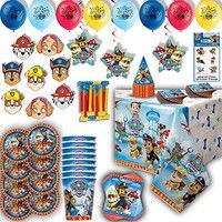 Everything you need for a Paw Patrol birthday party. Includes paper tableware such as plates, cups,
