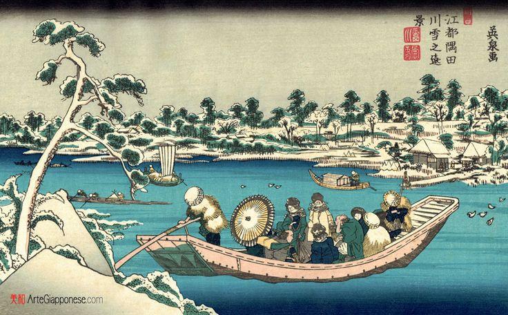 SUMIDA INNEVATO 1830,In questa magistrale xilografia di Keisai Eisen (渓斎英泉) vediamo, nella splendida cornice di un paesaggio innevato, un traghetto sul fiume Sumida (隅田川) con a bordo un gruppetto variegato di passeggeri sotto un cielo carico di neve, con una tonalità di colore che va dal nero al grigio. Probabilmente siamo immediatamente fuori gli antichi confini della città di Edo (江戸), l'odierna Tokyo (東京), forse nei pressi del distretto di Hashiba (橋場), oggi incluso nell'immensa…