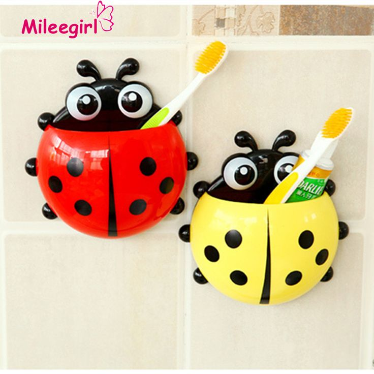 Ladybug Toothbrush Holder, 4 Colors Cartoon Suction Hook Toothbrush Rack, Wall Suction Holder Bathroom Sets