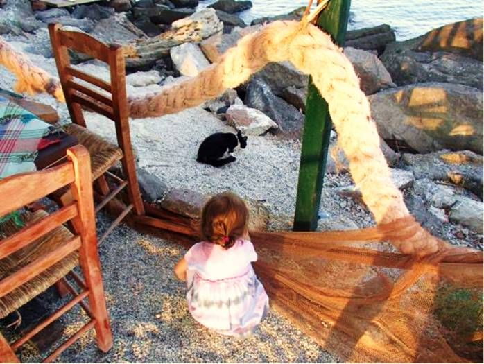 "NIKI G. - USA-ΕΚΠΡΟΣΩΠΟΣ ΤΗΣ ΕΛΛΑΔΑΣ:Baby girl watching over the ""niaou niaou"" (i.e., gatoula / cat) at Skala Mistegna in Mytilene, Greece."