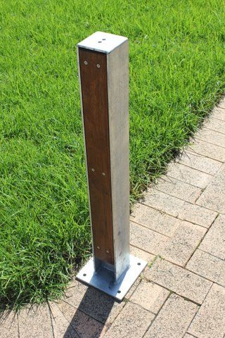 Urban bollard, recycled Ironbark timber and galvanised steel