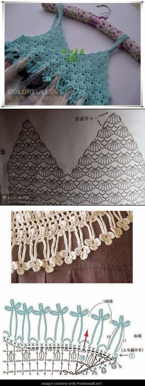 Dê um toque decorativo e fashion uma peça de roupa ou tecido fazendo um detalhe de crochê.Ou transforme aquela quevocêesta enjoada dan...