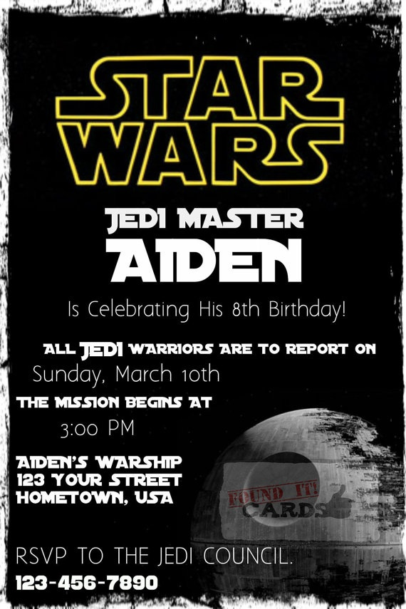 Star Wars Birthday Party Invitation Fully by FoundItCards on Etsy, $10 ...