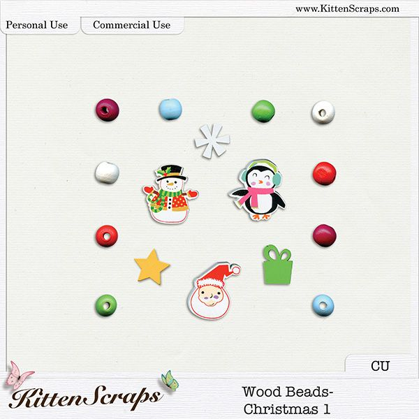 Wood Beads-Christmas 1{CU} Digital Scrapbooking Product