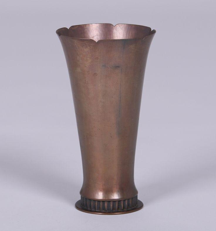 Dirk van Erp hammered brass flared vase c1930s. 8.5″h