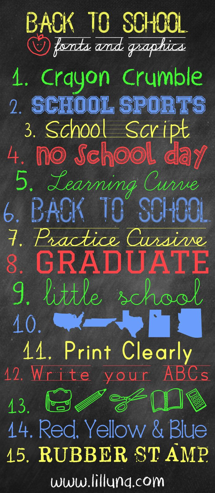 FREE Back to School Fonts and Graphics { lilluna.com }