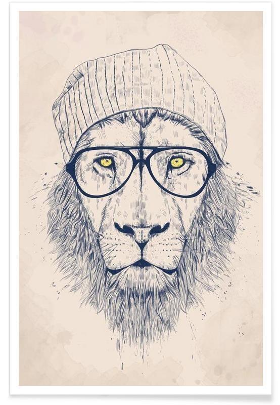 Cool lion als Premium Poster von Balázs Solti | JUNIQE