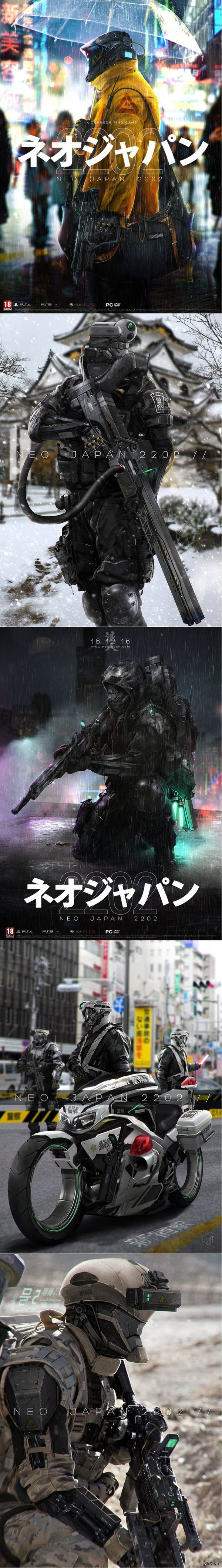 NEO JAPAN 2202 by Johnsonting deviant art. http://johnsonting.deviantart.com/art/NEO-JAPAN-2202-KIKAI-YOHEI-436385738: