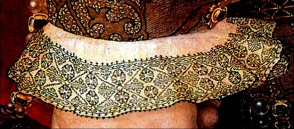 Blackwork embroidery on cuff of a Tudor period dress.