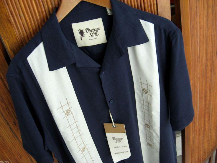 NWT Mens Vintage Silk Retro Bowling Shirt Casual 50s Rockabilly Navy Blue Medium #VintageSilk #ButtonFront