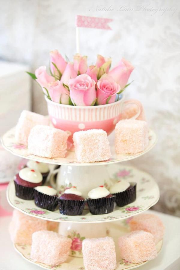Mini cake stand using teacups and china, cute idea for a dessert bar or tea party