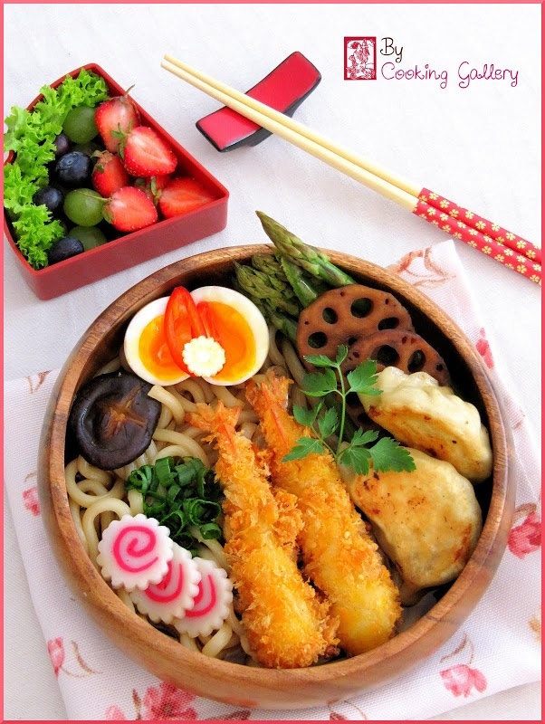 Japanese Fried Prawn and Gyoza Udon Noodle Bento Lunch Ebi Furai