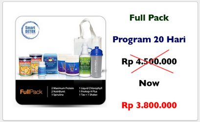 Paket smart detox full pack untuk detoksifikasi dan penurunan berat badan selama 20 hari