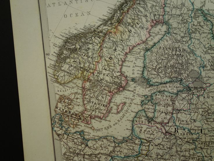 Antique map of Russia Scandinavia - original 1872 hand-colored print - vintage poster Russian empire Moscow St Petersburg Russland Russie by DecorativePrints on Etsy