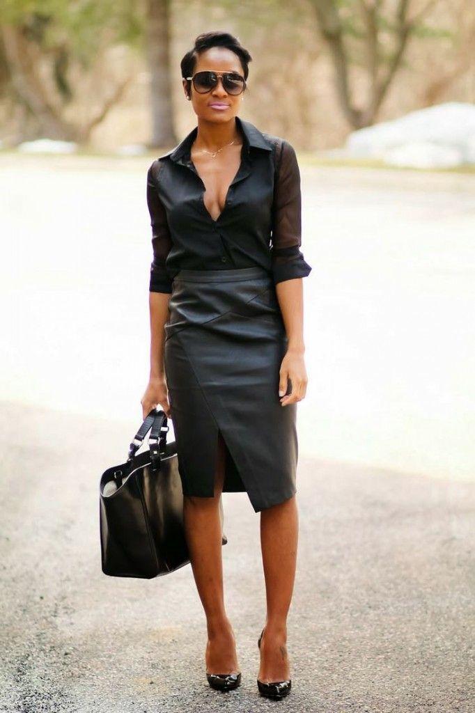 gorgeous plus size black leather skirt