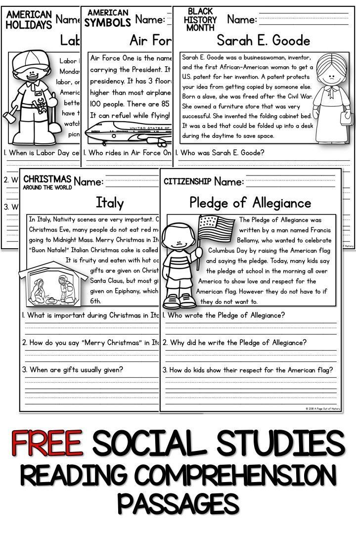 Free K 2 Reading Comprehension Passages Social Studies Worksheets Teaching Social Studies Substitute Teaching Social studies comprehension worksheets