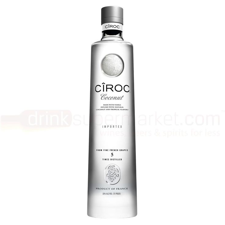 70cl Ciroc Coconut is made using fine French grapes that are cold fermented and distilled five times. It is then carefully blended with all natural ingredients, coconut being most dominant, to create the smoothest vodka around.