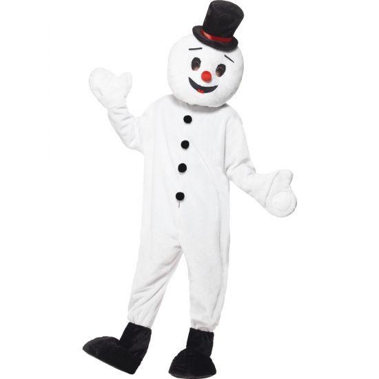 Sneeuwpop mascotte kostuum voor volwassenen. Luxe sneeuwpoppen pak inclusief voeten en hoofd. One size, M/L/XL.