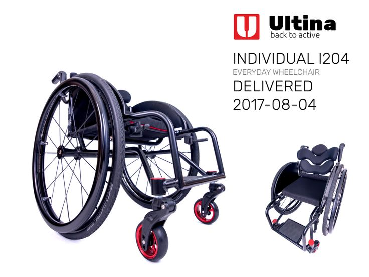 Daily use wheelchair Ultina INDIVIDUAL It is an unusual type of wheelchair designed for the specific disable person. We believe that only the individual attitude of ours can fulfil all the customer's demands. The chair was manufactured of ultralight and solid aluminium 7020 and equipped with Spinergy BLADE wheels, ergonomic TARTA Emys backrest, carbon fibre suspension Frog Legs PHASE 2 forks, folding down push handles and textiles designed to fit the backrest.