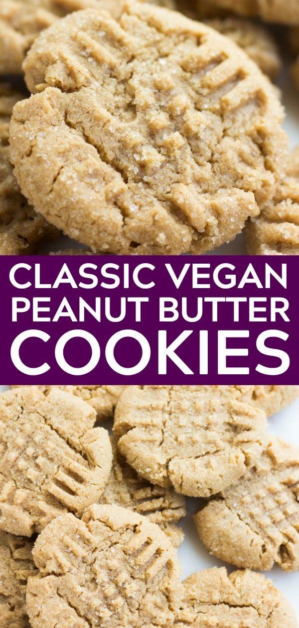 BEST EVER Classic Vegan Peanut Butter Cookies! Sof…
