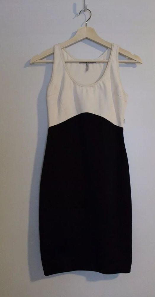 0 2 HALSTON HERITAGE BLACK WHITE CREAM STRETCH DRESS BODYCON FASHION STYLE HH    eBay