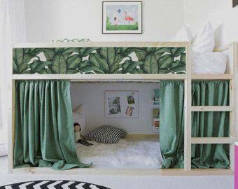 Kura Bett, Ikea, Banane Blatt Bettumrandung Sticker PACK 5, Repositionable, exotische Aufkleber für Kinderbett Möbel Aufkleber #2K