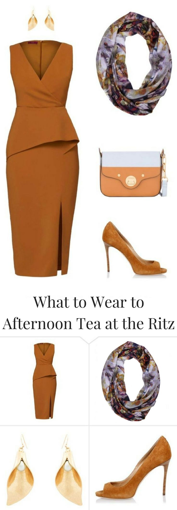 Terracotta Outfit Idea to wear to the Traditional Afternoon Tea at the Ritz. Click through the blogpost for the details of this outfit and few more Afternoon Tea Ideas.