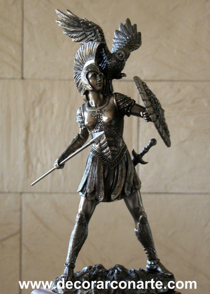Diosa Atenea con lanza. Alt: 30 cm
