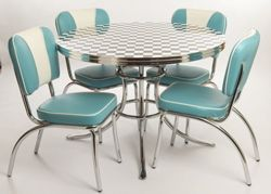 Retro diner inspired table and chairs. I love this blue more than primary red as it's easier to live with!