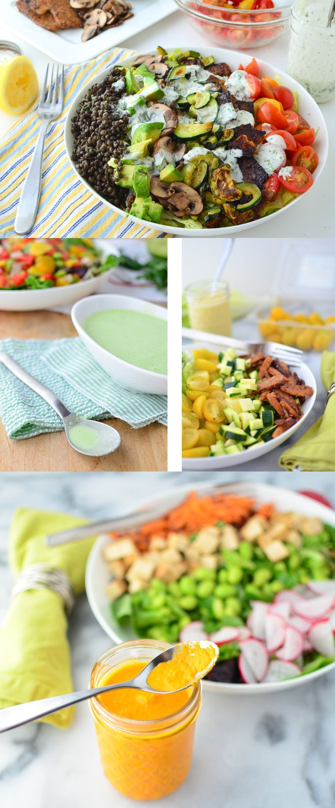 4 low-fat dressings that taste AWESOME! 4 creative dressings that are so easy to make, perfect for any salad. Plus, a mason-jar salad how-to!