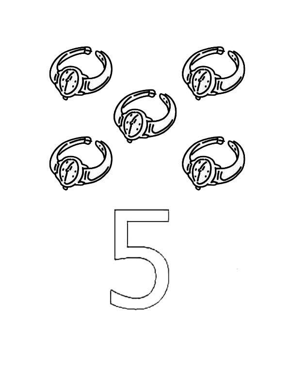 Learn Number 5 With Five Watches Coloring Page Coloring Pages Mermaid Coloring Pages Memorial Day Coloring Pages
