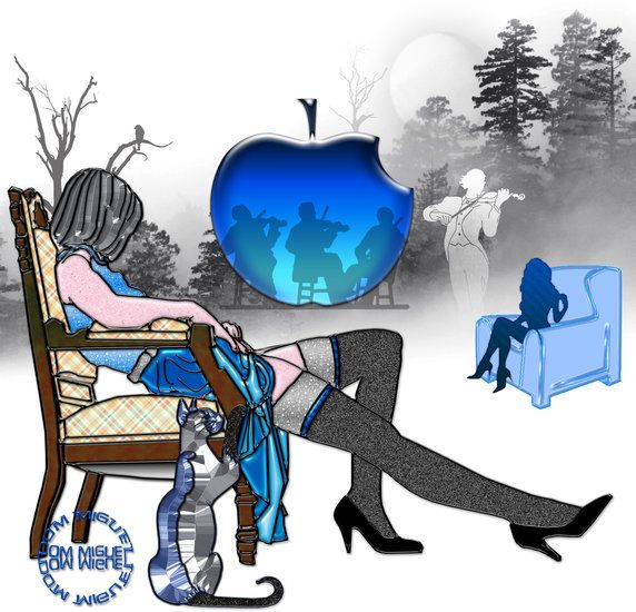 Artwork >> Abelard Ouvert La Nuit >> Fête galante #artwork, #violin, #music, #blue, #masterpiece, #girl, #apple