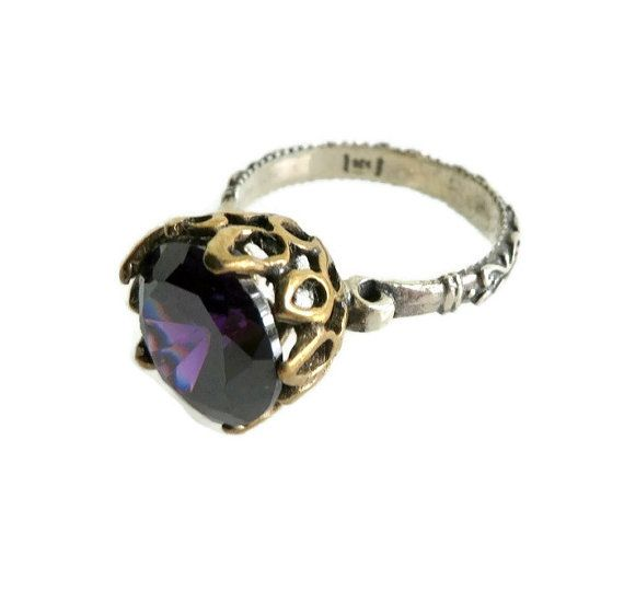 Vintage Two Tone Sterling Silver Purple Topaz by LeesVintageJewels