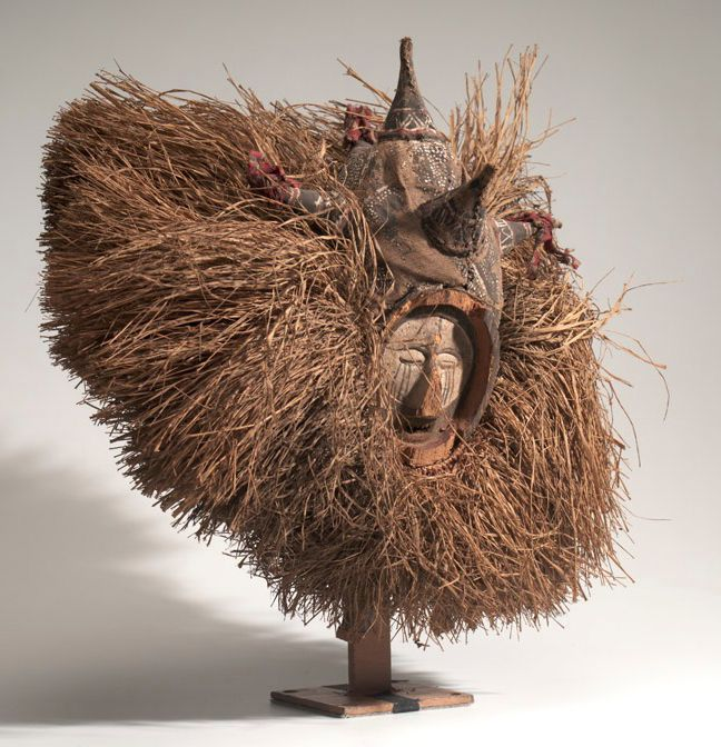 Africa | Mask from the Yaka people of the Kwango River region, DR Congo (Belgian Congo) | Wood, pigment, plant fiber, cloth | ca. prior to 1947