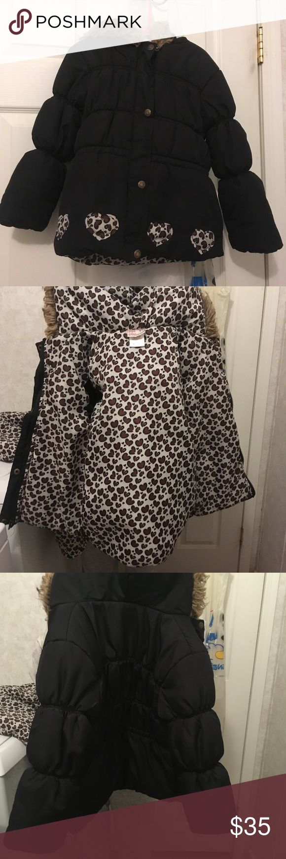 Kids snow bibs with coat. Both in great condition other than the stitching came out on one side, but it has been stitched back up! Shown in the last picture. Bought from pebbles. Pink Platinum Jackets & Coats