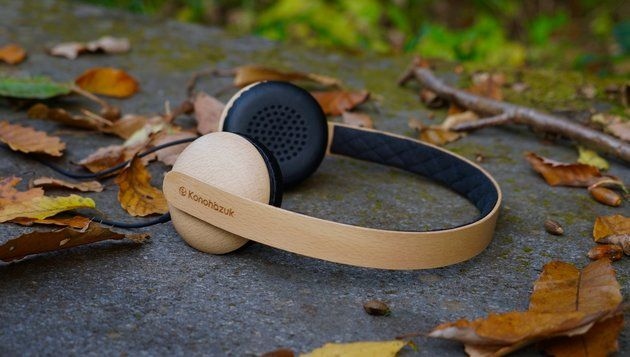 Earphones made entirely  of wood.