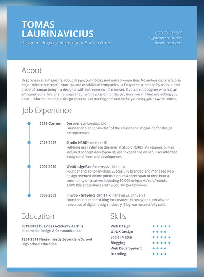 free word resume template creative