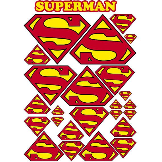 INSTANT DOWNLOAD Superman( 5 sizes ) - for Balloon, Stickers, Lollipop, Favor bags, Cups - Superman birthday party - PRINTABLE