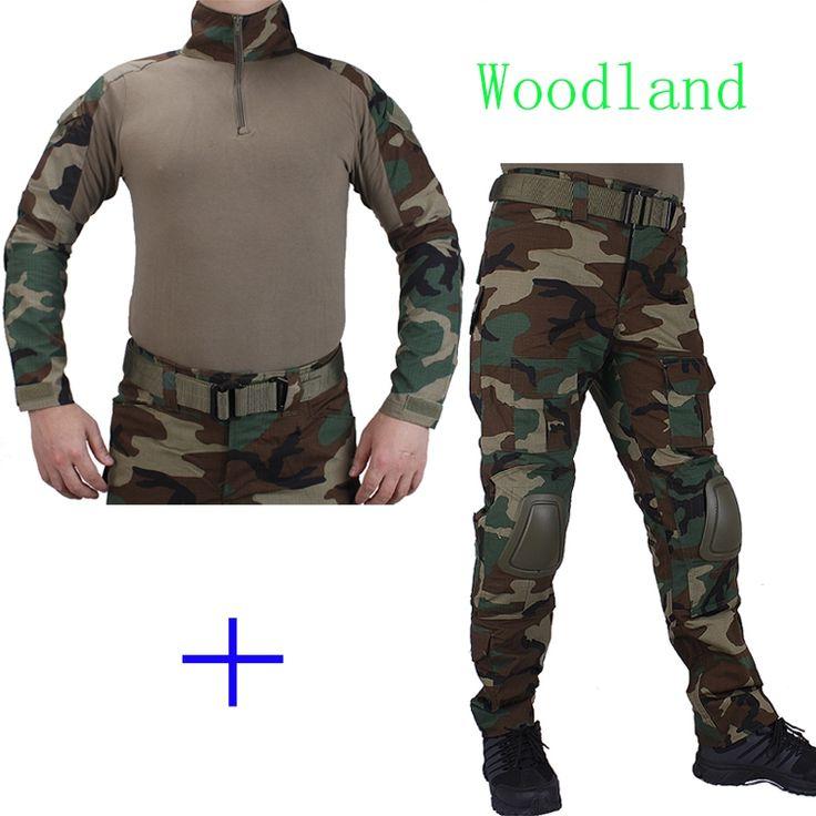 58.57$  Buy here - http://alikpe.worldwells.pw/go.php?t=32750497867 - Hunting Camouflage BDU Woodland Combat uniform shirt met Broek en Elbow& KneePads militaire cosplay uniform ghilliekostuum jacht 58.57$
