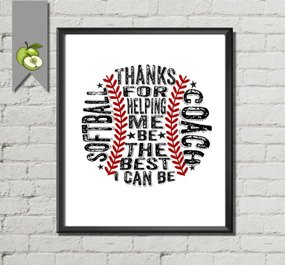 Softball art print Coach Appreciation gift Coach by TheArtyApples