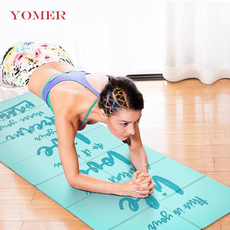 FuzWeb:YOMER 5mm PVC Non-slip Foldable Yoga Mats For Fitness Slim Yoga Gym Exercise Mats Outdoor Pads Fitness Mat Easy Carry