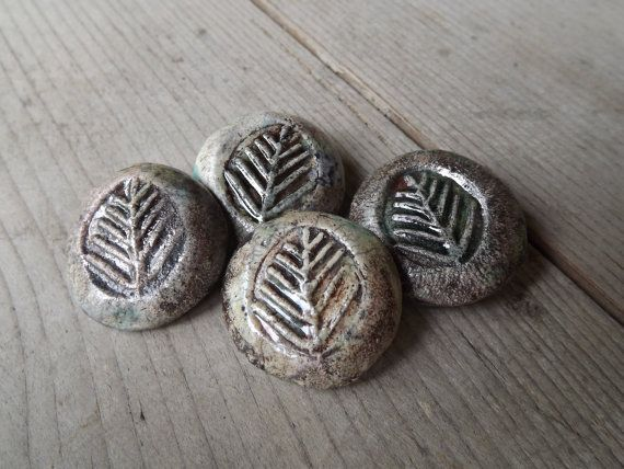 4  Ceramic Buttons round button tree branch by BlueBirdyDesign, €10.00