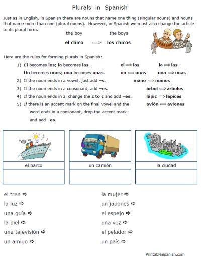 simple short sweet free plurals in spanish worksheets packet 10p printable spanish. Black Bedroom Furniture Sets. Home Design Ideas