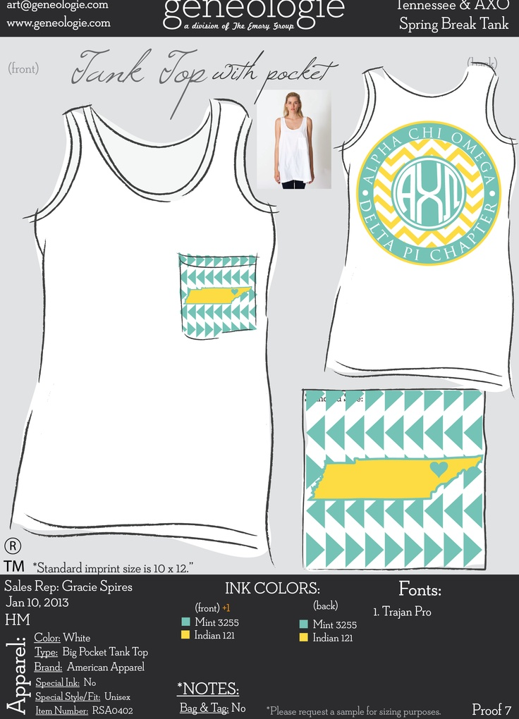AXO state tank design - Alpha Chi Omega LOVE THIS!